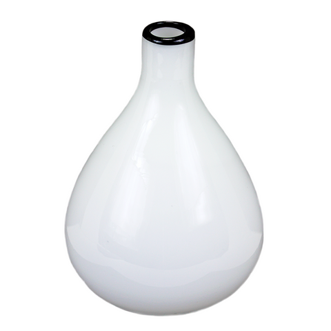 Murano Style Art Glass Vase, Cased Glass Beaker Vase, White, Black