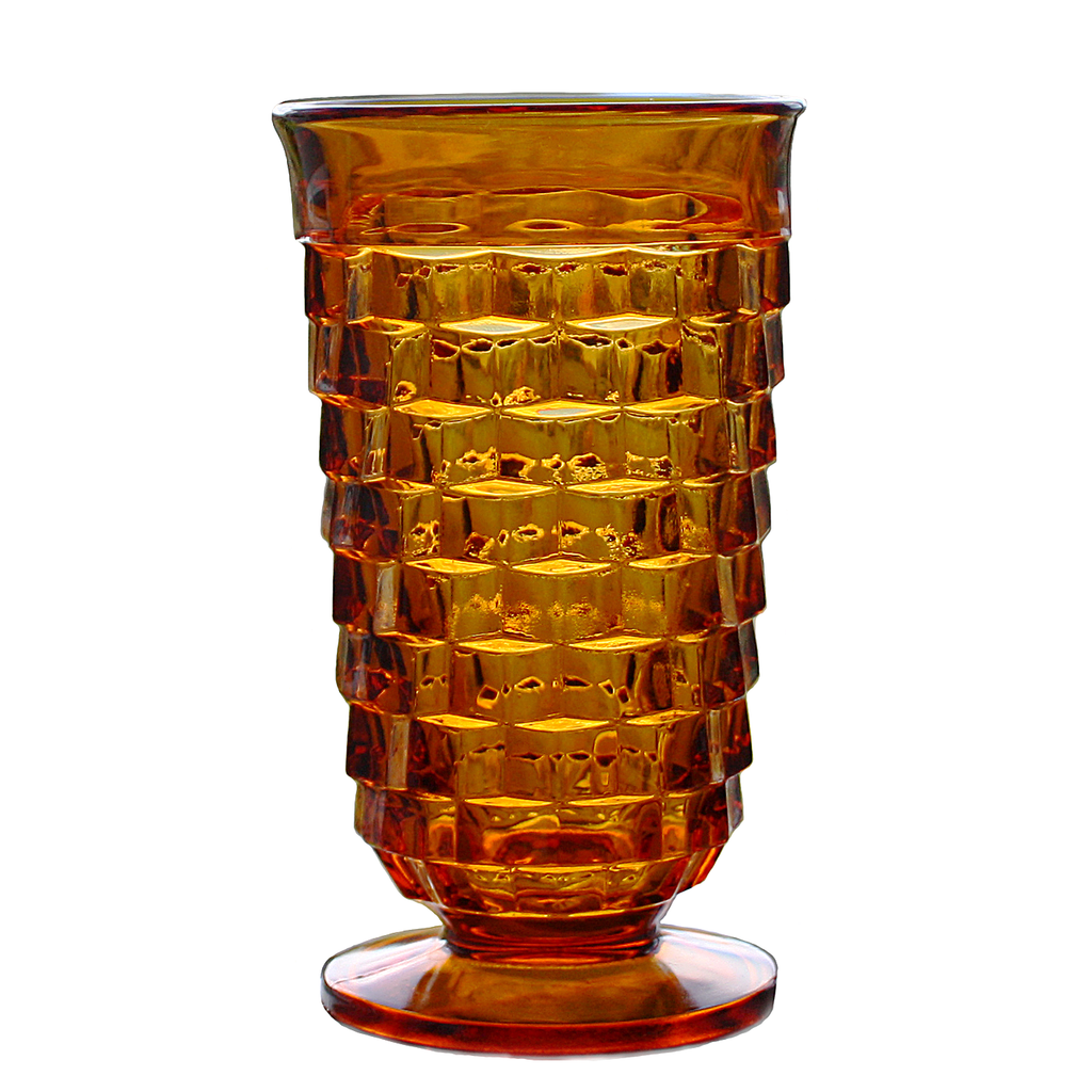 Amber Glass Tumbler, Indiana Glass Whitehall Pattern, Cube Cut Goblet Vase