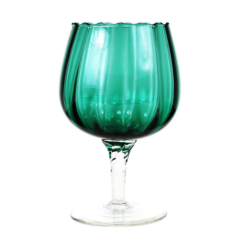 Optic Glass Goblet Vase, Clear Twisted Stem, Teal Green Vintgage Decor