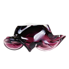 Mid Century Cigar Ashtray, Amethyst Art Glass, Vintage Decor