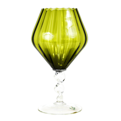 Olive Green Optic Glass Compote, Hand Blown Italian Art Glass, Twisted Stem