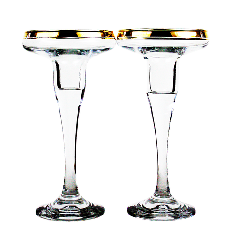 Candle Holders, 22K Gold Rim, Vintage Mikasa Crystal