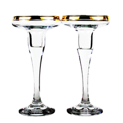 Vintage Mikasa Crystal Candle Holders. Gold Rim Candlesticks.