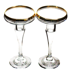 Elegant Gold Rim Crystal Candle Holders.