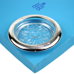 Birks Coaster-Ashtray Boxed Set, Crystal Snowflake Pattern, Silver Rim