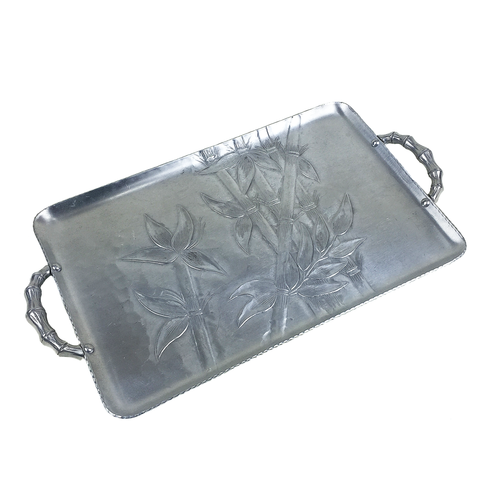 Serving Tray, Forged Hammered Aluminum, Embossed Bamboo Pattern, Everlast Metal Products