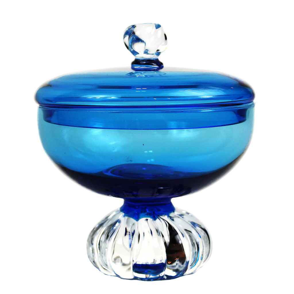 Aseda Glasbruk Candy Bowl, Turquoise Blue Covered Dish, Bo Borgstrom Art Glass