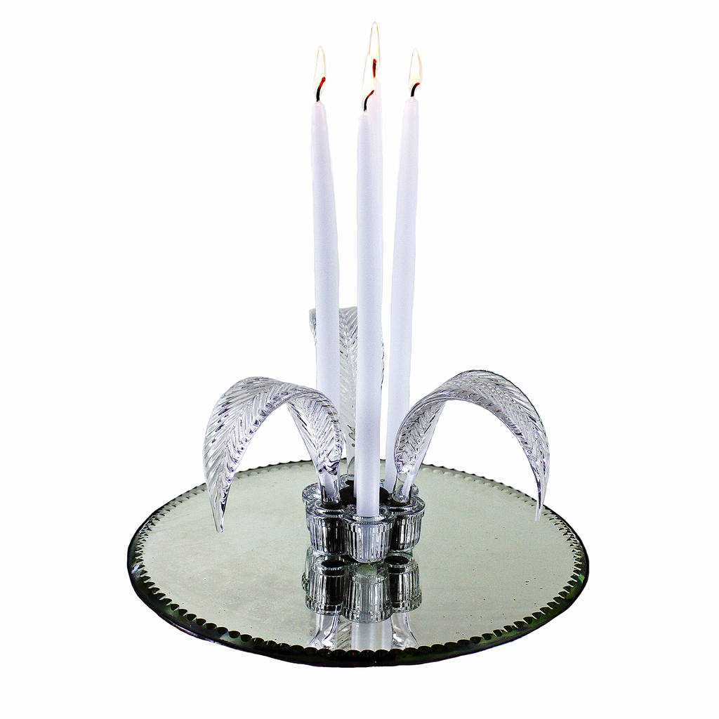 Round Art Deco Vanity Tray. Mirrored Base. Glass Feather Accent and Four Taper Candles.