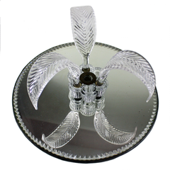 Round Mirrored Vanity Tray. Glass Feather Accents. Art Deco Decor.