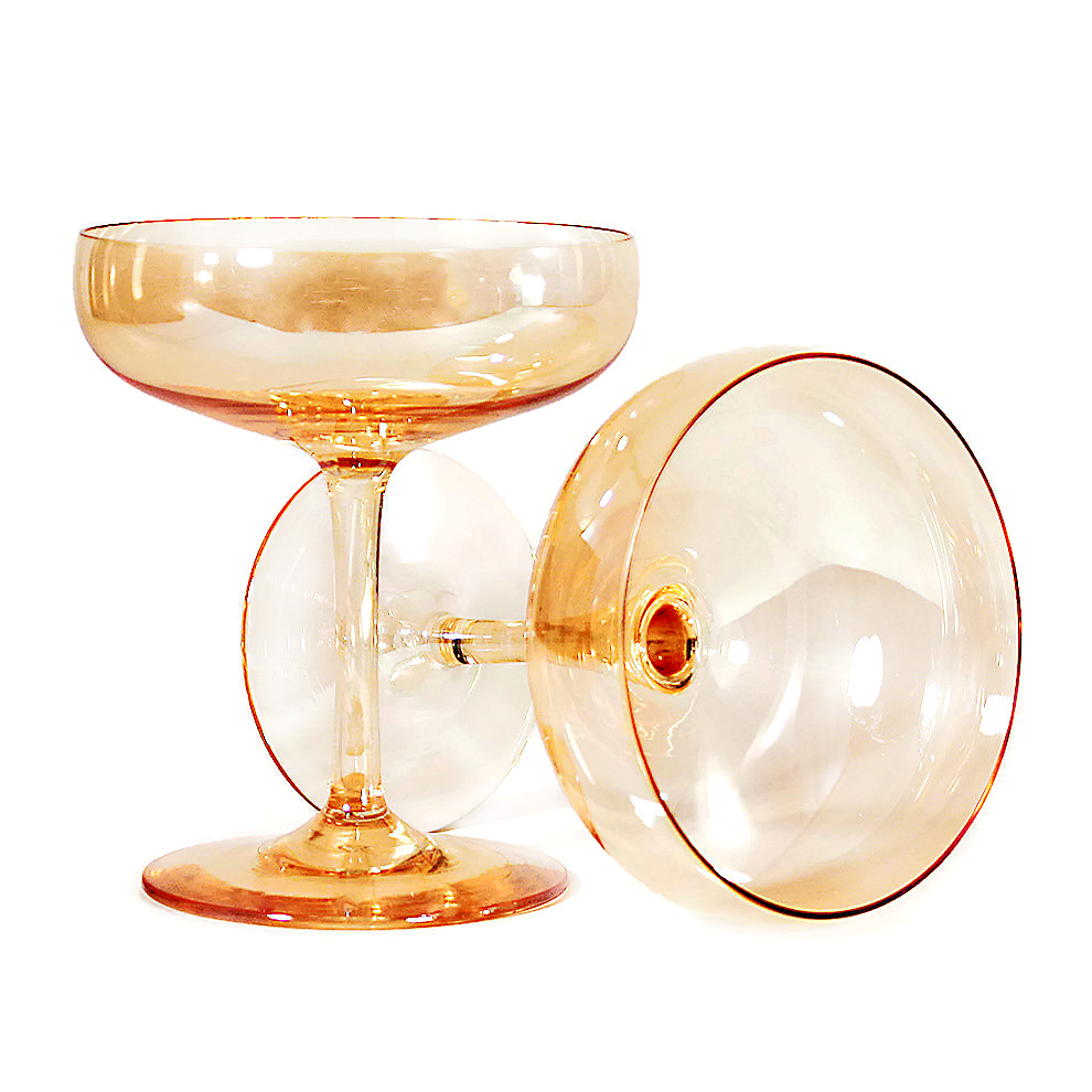 Vintage Iridescent Apricot Champagne Coupes