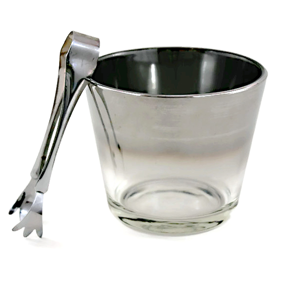 Mid Century Silver Ombre Glass Ice Bucket and Chrome Ice Tongs.