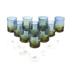 Cordial Glasses, Blue-Amber Fade, Bluerina Hand Blown Glass, MCM