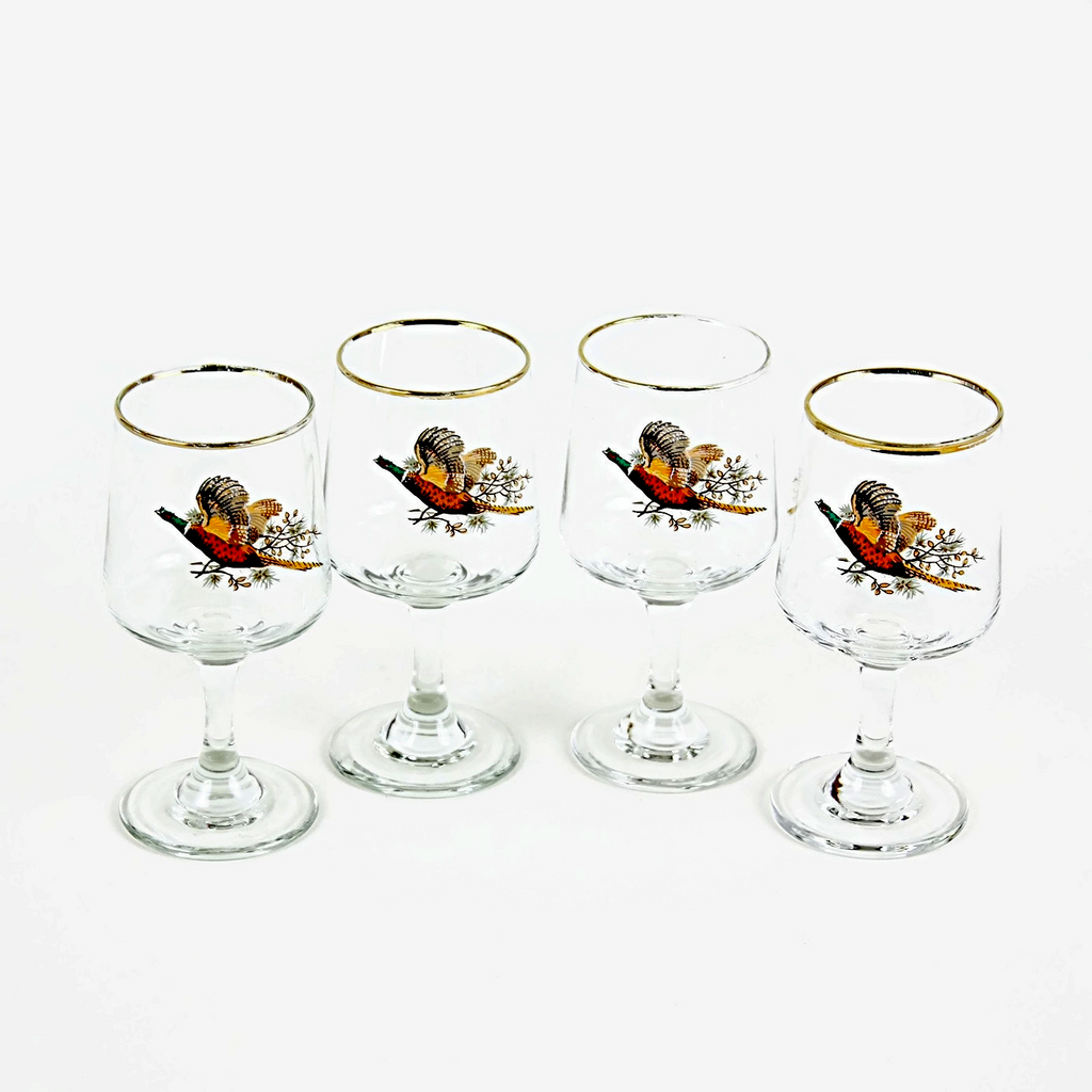 Libbey Gold Rimmed Sherry Glasses, Pheasant Overlay