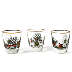 Vintage Shot Glasses, Treasure Island Theme. Rock Sharpe Shot Set by Freda Diamond.