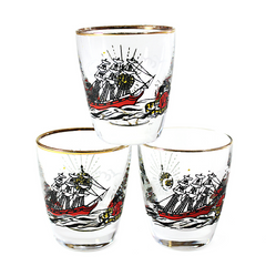 Mid Century Shot Glasses, Treasure Island by Freda Diamond.