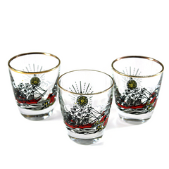 Mid Century Shot Glasses. Set of 3 Libbey Rock Sharpe. Treasure Island Theme by Freda Diamond.