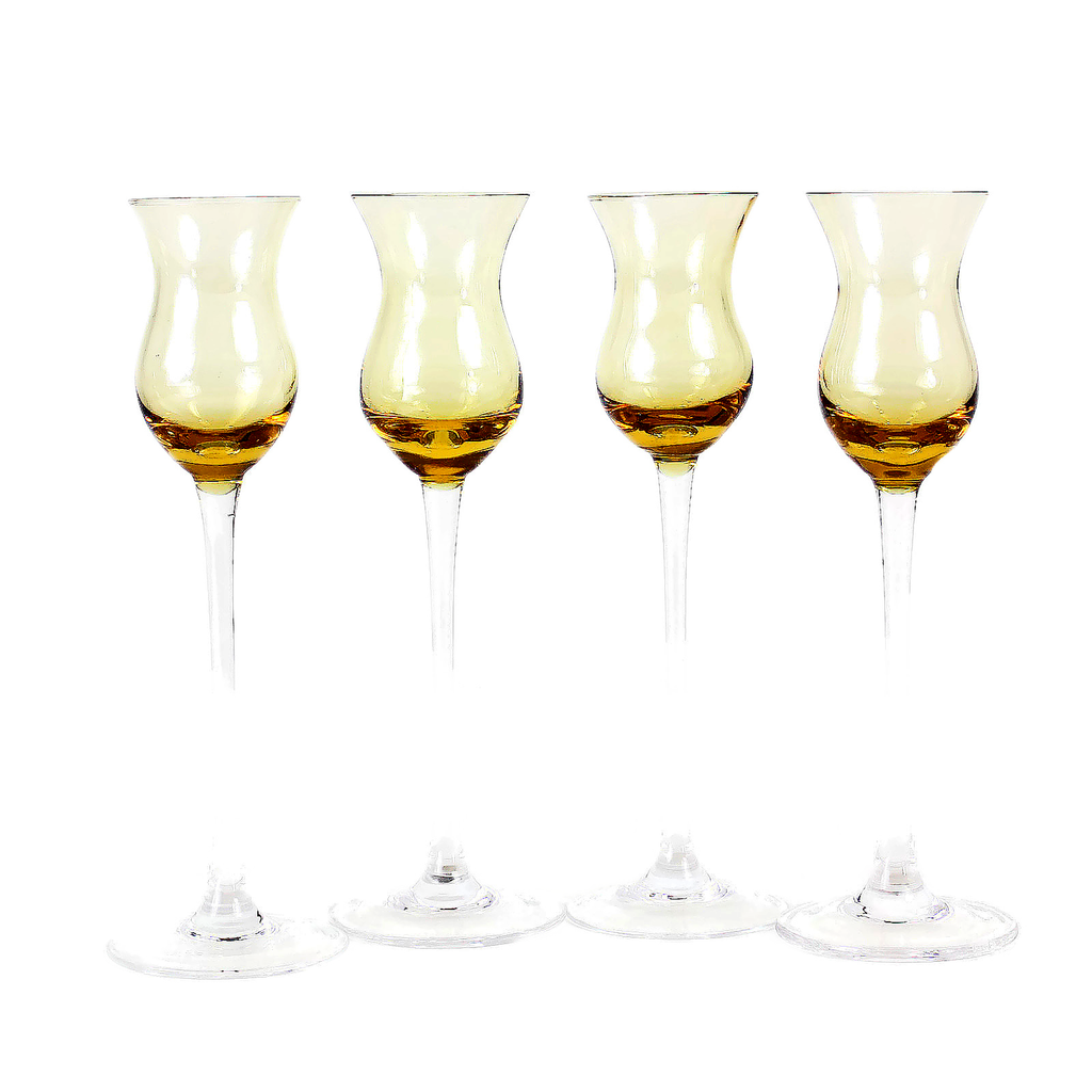 Vintage Long Stemmed Liqueur Glasses, Amber Glass with Clear Stems.