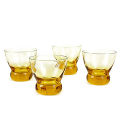 Eva Zeisel 'Prestige' Old Fashioned Whiskey Glasses, Amber Spiral Optic