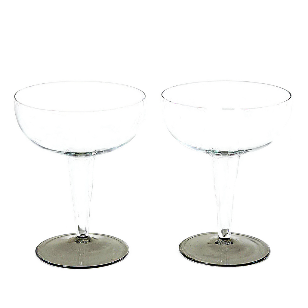 Hollow Stemmed Champagne Coupes, Smokey Base