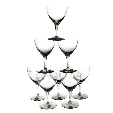 Vintage Dartington Cocktail Coupes, Hand Blown Crystal, Smokey Black, Set of 8