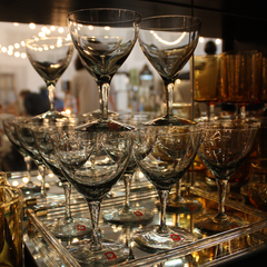 Vintage Dartington Crystal Cocktail Coupe Glasses in Smokey Black.