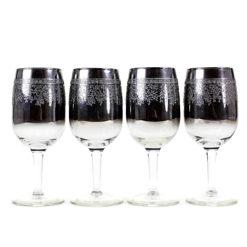 Vintage Silver Glaze Wine Glasses featuring Embossed Wisteria Pattern.