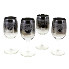 Set of 4 Mid Century Silver Ombre Wine Glasses. Embossed Wisteria Pattern.