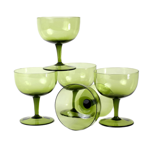 Vintage Cocktail Glasses, Hand Blown Coupes, Avocado Green