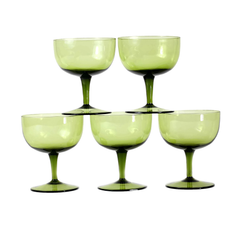 Olive Green Cocktail Stemware. Mid Century Coupes.