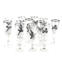 Mid Century Pilsner Beer Glasses. Sportsman Game Bird Motifs.