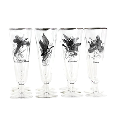 Vintage Pilsner Beer Glasses. Game Bird Motifs in Black.