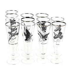 Vintage Pilsner Glasses, Set of 12. Featuring 4 Different Game Birds.