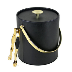 Black Thermo-Serv Ice Bucket, Gold Plated Glo-Hill Ice Tongs