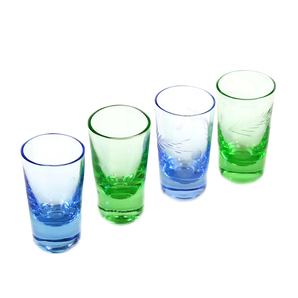 Shot Glasses, Hand-blown Glass in Vibrant Blue and Green, Vintage