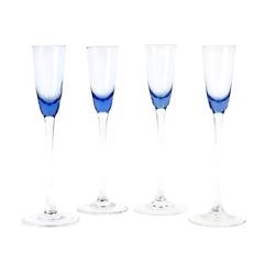 Liqueur Glasses, Long Stemmed Blue