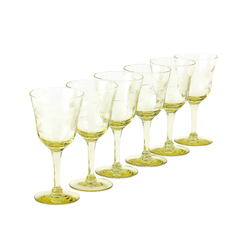 Sherry Glasses, Yellow Etched 16-Sided Optic Bowl, Depression Glass