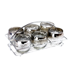 Vintage Bar Glass Caddy Set. Silver Ombre Metallic Glaze with Embossed Berry Pattern.