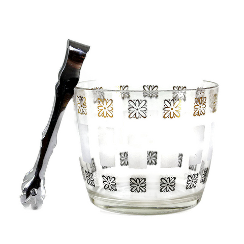 Glass Ice Bucket, Gold & Black Daisy Pattern, Lancaster Colony Glass