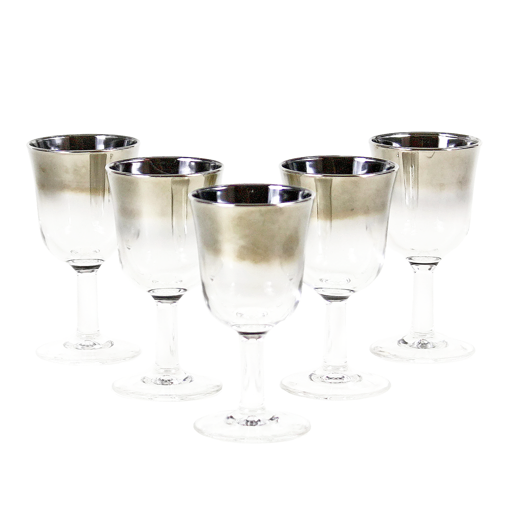 Vintage Silver Ombre Sherry Glasses, Set of 5.