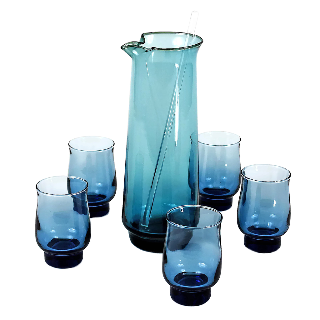 Libbey Glass Cocktail Pitcher Set, Peacock Blues