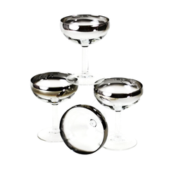Silver Ombre Crystal Champagne Coupes, Arcoroc, France