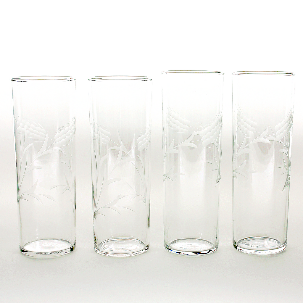 Etched Wheat Vintage Collins Glasses