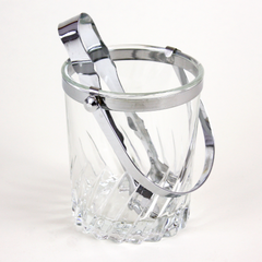 Crystal Arcoroc Ice Bucket and Stainless Tongs, France