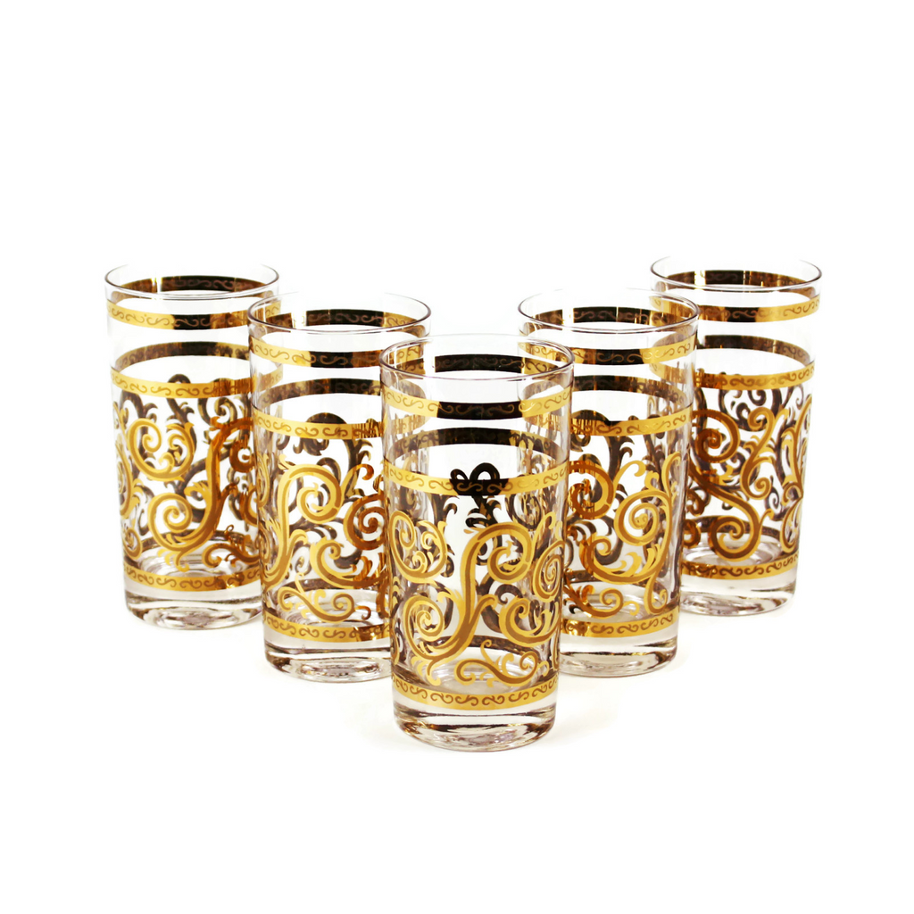 Georges Briard Gold Filigree Highball Glasses