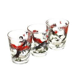 Vintage Shot Glasses in a Set of 3. Features Pheasants in Red and Black.