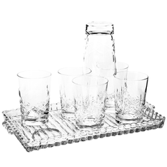 Cross & Olive Whiskey Glasses with Heisey Crystolite Tray