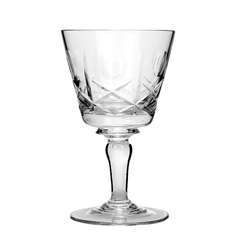 Vintage Crystal Sherry Glasses in Cross and Olive Pattern.