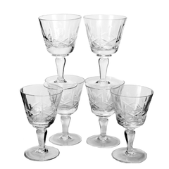 Set of 6 Vintage Cross & Olive Crystal Sherry Glasses by Edinburgh Crystal Company