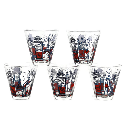 Double Shot Glasses, Classic Scenes of Paris in Red, White, Blue