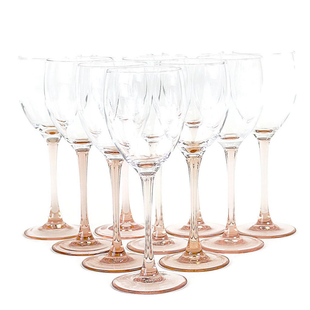 Blush Pink Stemmed Luminarc Wine Glasses